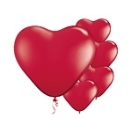 Mini red heart balloons