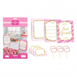 Pink buffet decorating kit (12pcs)