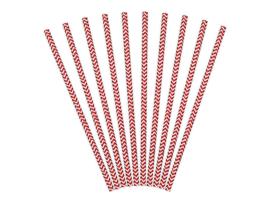 Paper straws red chevron