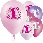 First birthday ballonnen mix rose (8st)