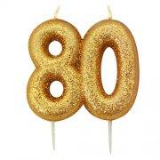 Kaarsjes goud glitter cijfer 80