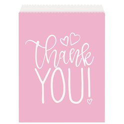 Treat bags Thank you pink hearts