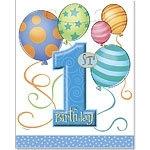 First birthday loot bags blue balloons (8pcs)