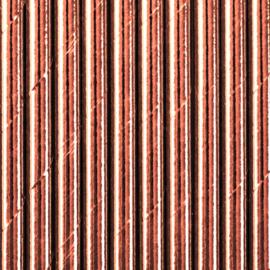 Papieren rietjes glimmend rose goud (10st)