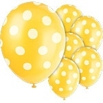 Balloons yellow polka dot (6pcs)