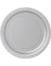 Papieren borden zilver groot (16st)