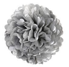 Pompom zilver 35cm
