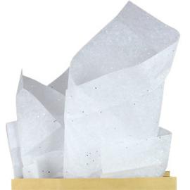Zijdevloeipapier wit glitters (8vellen)