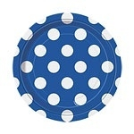 Papieren bordjes blauw polkadots (8st)