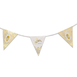 Eid bunting palstic white/gold (6m)