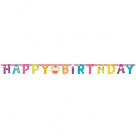 Letter banner Happy Birthday cupcakes