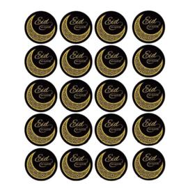 Stickers Eid Mubarak black gold (20pcs)