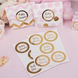 Sluitstickers baby shower goud (25st)