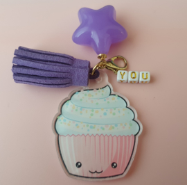 Acryl hanger Kawaii cupcake met naam (pst)
