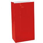 Papieren zakjes effen rood groot  (12st)