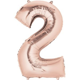 XL foil balloon number 2 rose gold