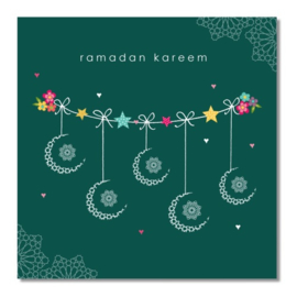 Greeting card Ramadan Kareem green (ea)