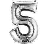 Cijfer ballon 5 zilver (40cm)