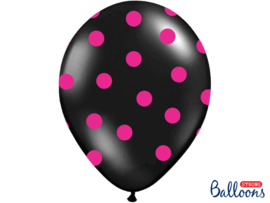 Balloons black w/ hot pink dots (6pcs)