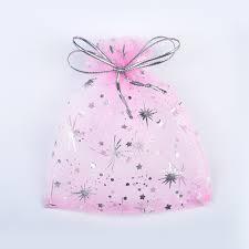 Organza zakjes roze/goud sterretjes (5st)