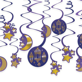 Swirls groot Ramadan / Eid blauw goud (12st)