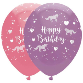 Happy Birthday unicorn balloons (6pcs)