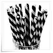 Paper straws black and white stripes