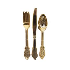 Plastic bestekset goud (12st)