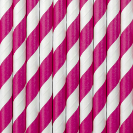 Paper straws hot pink stripes (10pcs)