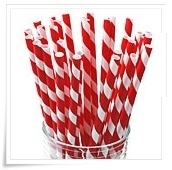 Paper straws red and white stripes