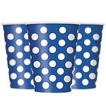 Paper cups blue polka dots