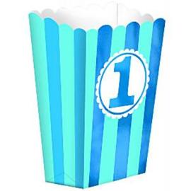 Popcorn bakjes 1st birthday blauw (5st)