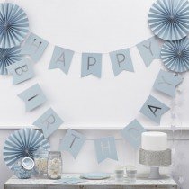 Paper bunting blue Happy Birthday