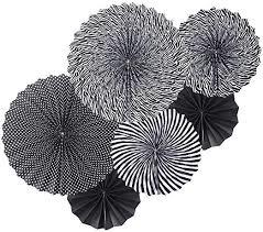 Papieren fans zwart combi (5st)