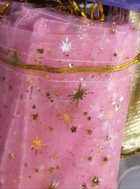 Organza pouch pink with gold stars(5pcs)