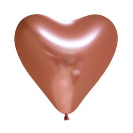 Chrome hart ballon koper (5st)