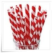 Papieren rietjes rood-witte strepen (30st)