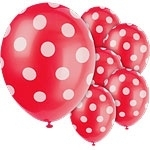 Balloons red polka dot (6pcs)