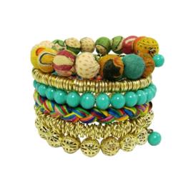 Bracelet Kantha mix gold