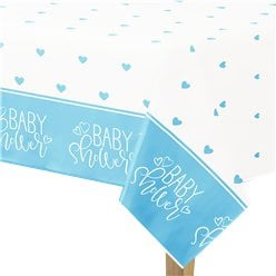 Table cloth baby shower blue hearts