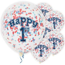 Confetti ballon 1st birthday blue (6st)