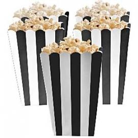 Popcorn bakjes zwarte streep (5st)