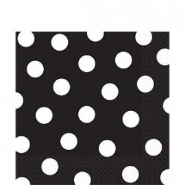 Servetten zwart witte polkadots