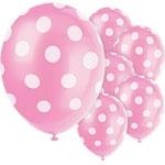 Balloons pink polka dot (6pcs)