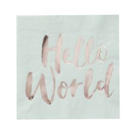 Servetten mint groen Hello World  (20st)
