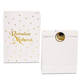 Paper favor bags Ramadan white gold (6pcs)