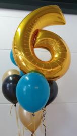 XL foil balloon gold number 6