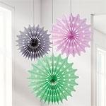 Papieren fans pastel (3st)