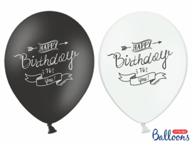 Black &white balloons happy bday (6pcs)