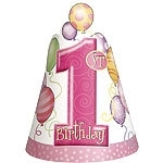 First birthday hoedjes roze (8st)